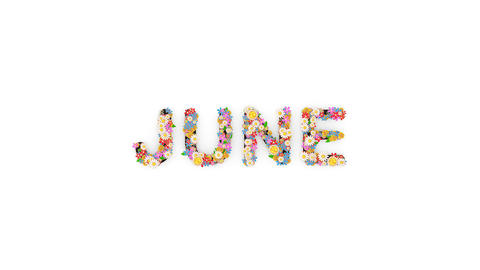 Floral calendar month text animation, June Animation