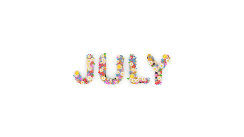 Floral calendar month text animation, July Animation