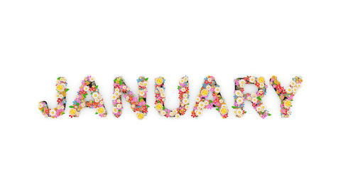 Floral calendar month text animation, January Animation