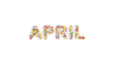 Floral calendar month text animation, April Animation