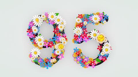 Numerical digit floral animation, 95 Animation