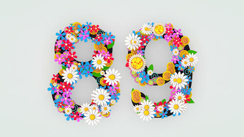 Numerical digit floral animation, 89 Animation