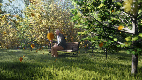 Autumn Color Park. View of colorful autumn trees on a Sunny autumn day. Old grandpa is sitting on a Animation