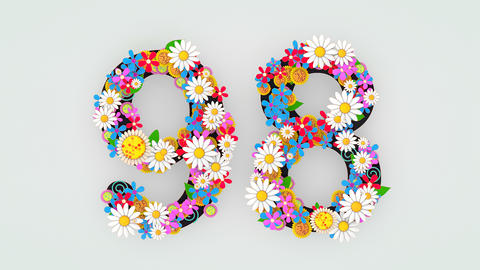 Numerical digit floral animation, 98 Animation