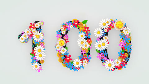 Numerical digit floral animation, 100 Animation