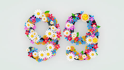 Numerical digit floral animation, 99 Animation