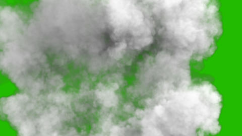 Smoke after a strong explosion and Shockwave in front of a green screen Animation