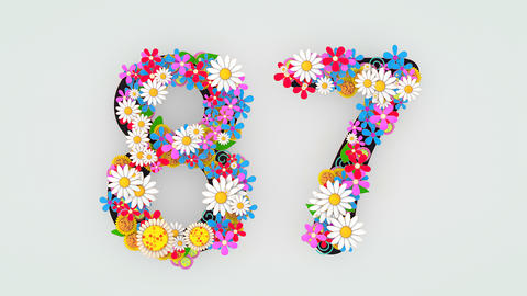 Numerical digit floral animation, 87 Animation