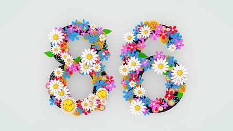 Numerical digit floral animation, 86 Animation