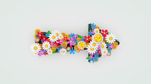 Flower floral decoration arrow sign Animation