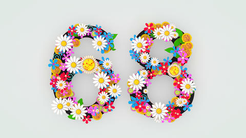 Numerical digit floral animation, 68 Animation