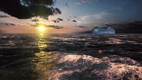 Luxury cruise ship sailing from the port at sunset across the bay Animation