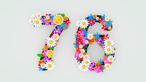 Numerical digit floral animation, 76 Animation