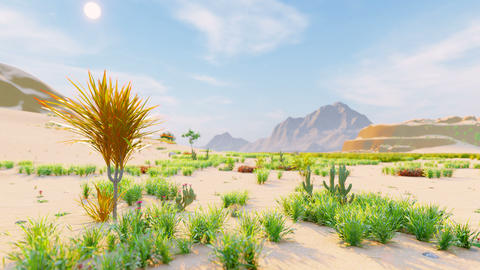 Desert horizon. Clear day. Mountains in the distance, sand dunes and blue sky. Beautiful scenery. Animation