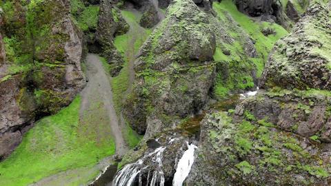 Stjornarfoss Waterfalls in summer season, amazing aerial view Live Action