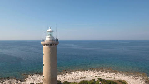Aerial - Flyby lighthouse of Veli Rat on the island Dugi Otok Footage