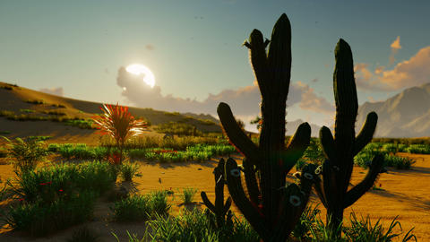 Sunrise in the desert. Early morning. Far mountains, sand dunes and sultry sky. Beautiful scenery. Animation