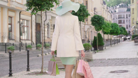 Back view of elegant stylish woman walking with shopping bags on sunny summer Live Action