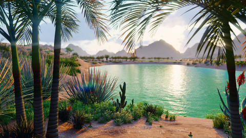 An amazing fantasy oasis in the desert. Clear day. Distant mountains, sand dunes, palm trees and a Animation
