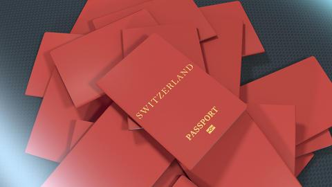 Artist rendering Switzerland travel passport Animation
