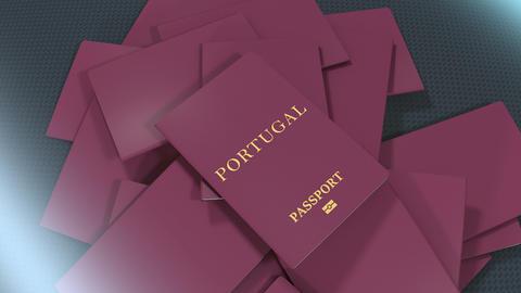 Artist rendering Portugal travel passport Animation