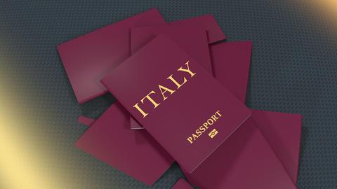 Artist rendering Italy travel passport Animation