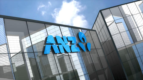 Editorial, Australia and New Zealand Banking Group Limited logo on glass building Animation