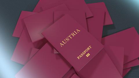 Artist rendering Austria travel passport Animation
