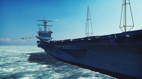 Military helicopters Blackhawk take off from an aircraft carrier at clear day in the endless sea Animation