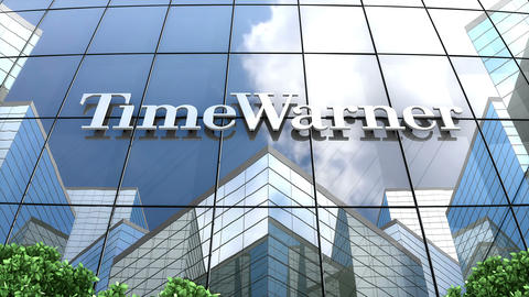 Editorial, Time Warner, Inc. logo on glass building Animation