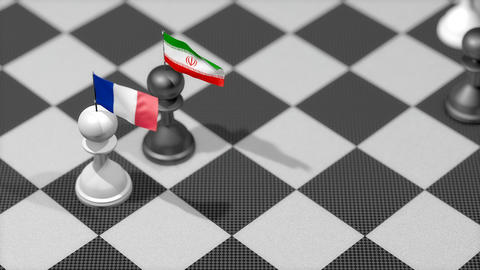Chess Pawn with country flag, France, Iran Animation