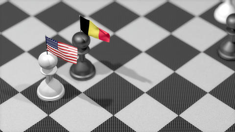 Chess Pawn with country flag, United States, Belgium Animation