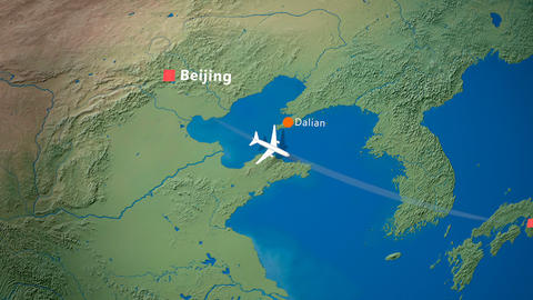 Air travel flying route destination, Beijing, Osaka Animation