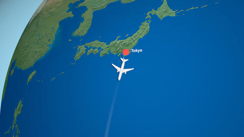 Air travel flying route destination, Japan New Zealand Animation