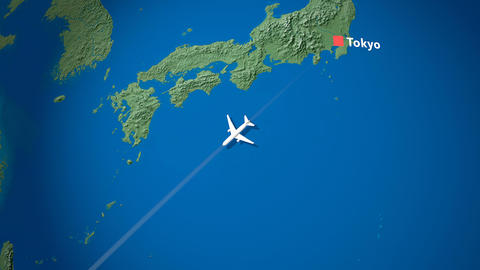Air travel flying route destination, Japan, Singapore Animation