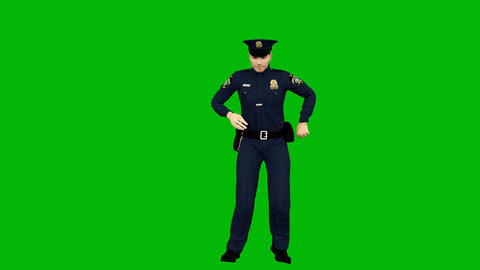 Policeman dancing rhythmic modern dance on a green screen. Looped animation Animation