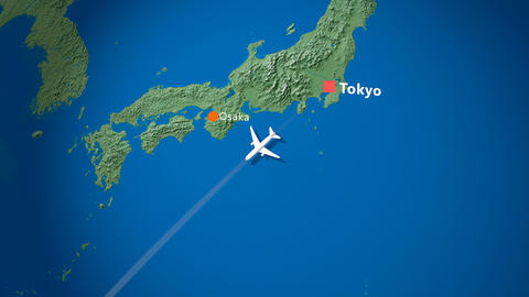 Air travel flying route destination, Japan, Philippine Animation