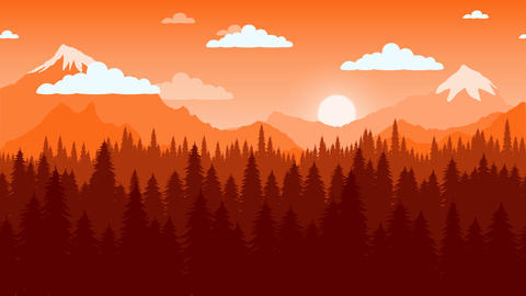 Moving by mountain landscape animation Animation
