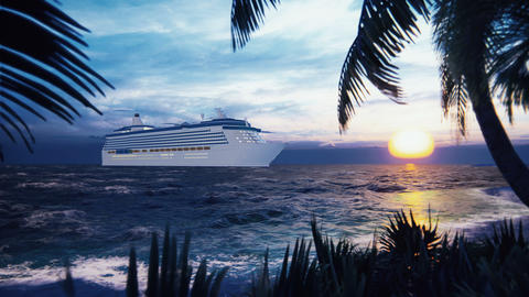A luxury cruise ship docked near an island with palm trees and tropical plants in the wind at Animation