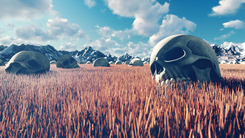 Mystical view, unusual grass, old skulls on the ground, blue sky with clouds, morning sun and Animation
