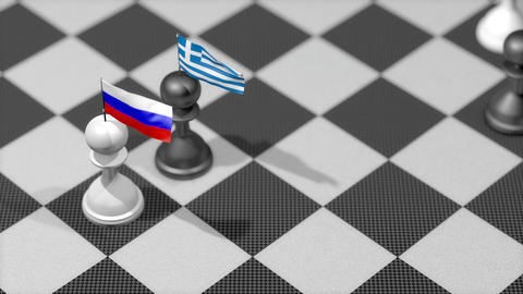Chess Pawn with country flag, Russia, Greece Animation