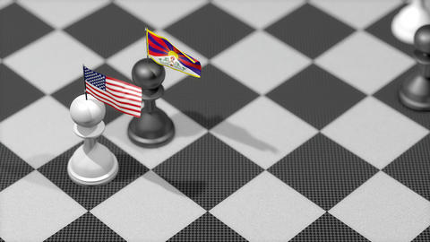 Chess Pawn with country flag, United States, Tibet Animation