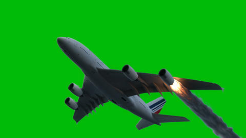 The engine of the aircraft caught fire and burns with the release of black smoke in front of a green Animation
