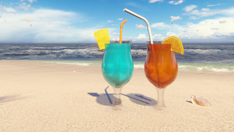 Beautiful glasses with cocktails on the sandy beach, washed by the ocean wave. Beautiful loop 3D Animation