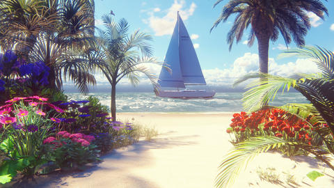 Beautiful yacht swims past the beautiful beach, washed by the ocean wave. Beautiful loop 3D Animation