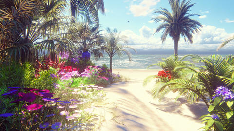 A beautiful beach with beautiful flowers and trees growing on it, blue sky and white sand washed by Animation