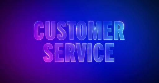 Customer Service. Electric lightning words. Logotype Animation