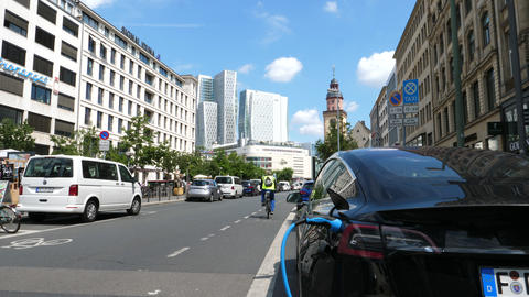 Urban city life Frankfurt, Germany on a sunny day Live Action