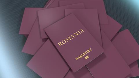Artist rendering Romania travel passport Animation
