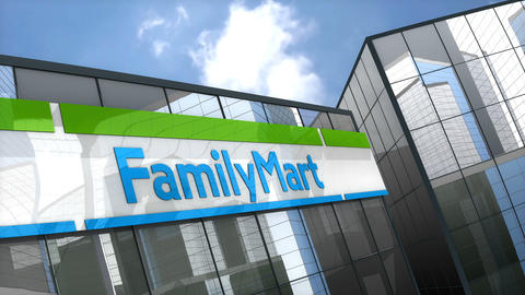 Editorial, Family Mart convenience store logo on glass building Animation